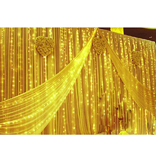 8 Modes 7 Colors 3M(9.84ft) (W) Curtain Lights String Fairy Light Window Curtain Icicle Lights Window Lights For Christmas Wedding Party Hotel Decorations (Yellow, 1.5M(4.92ft)(H) 144 Led Lights)