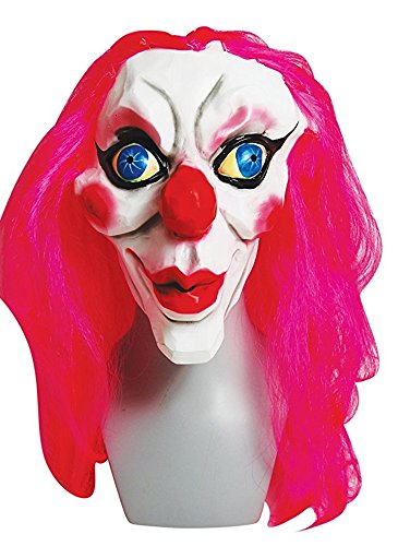 Female Scary Clown Costumes (The Gothic Collection Pink Kiss Women Clown Halloween Mask)
