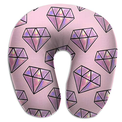 (Pink Diamond Pattern Travel Neck Pillow Comfort Home Car Bus Train Airplane U-Shaped Pillow - Soft Comfortable Memory Foam Neck Pillow with Washable Cover)