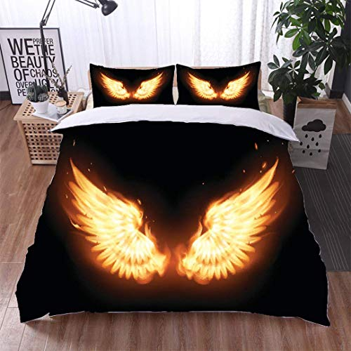 VROSELV-HOME Style 3D Digital Print Bedding Sets,Wings in Flame,Soft,Breathable,Hypoallergenic,100% Cotton Beding Linens for Kids Children