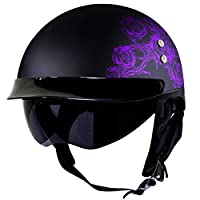 Voss 888FRP Matte Black Skull and Rose Bullet Cruiser Half Helmet with Integrated Sun Lens and Metal Quick Release - M - Matte Purple/ Black by Voss Helmets