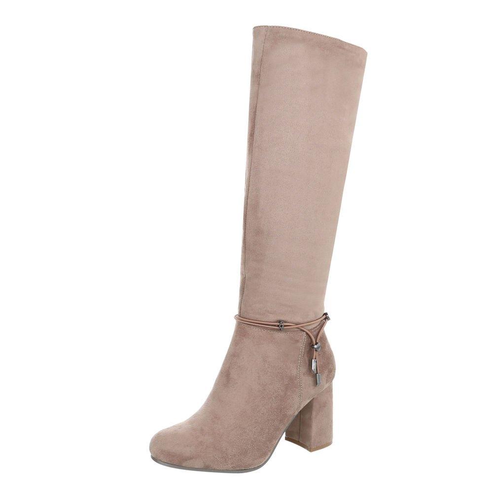 High Heel Stiefel Damenschuhe Klassischer Pump Heels Reißverschluss Ital-Design  37 EU Hellbraun