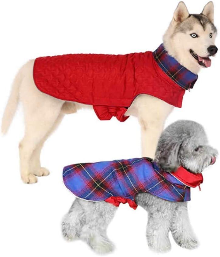 Reversible Dog Warm Jacket,British Plaid Waterproof Turtleneck Cold Weather Puppy Vest,Safety Reflective Stripe Winter Coats with Cotton Lining for Small Medium Large Lab Corgi Bulldog Husky Golden