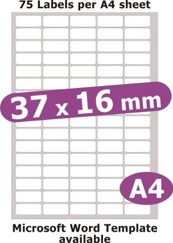 Minilabel 37X16mm, 375 Labels, Removable Low Tack Adhesive, Matt Paper, 5 A4 Sheets, Laser Copier Inkjet Stickers