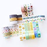 Washi Tape Set - 20 Rolls of Decorative Adhesive with Unique Colorful, Glitter, Floral, Foil Tape Designs - Journal Decorating, Scrapbook, Photo Album, and Arts and Crafts Projects - MozArt Supplies