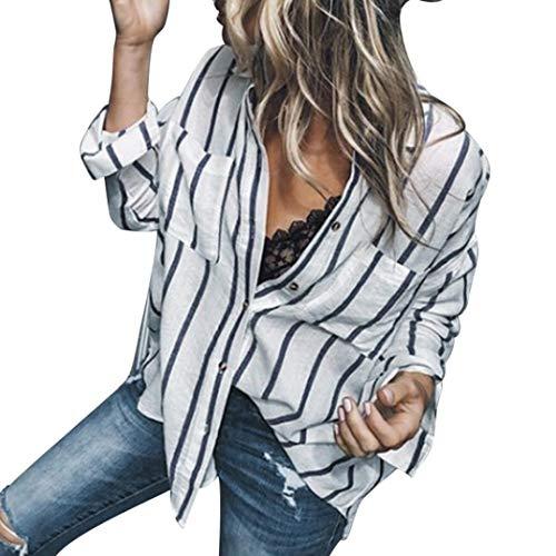 Modo Jiameng Superiori Casuale Sexy Camicia Lunghe Del Camicie Casual Allentata Con Marino Maniche Donna Bluse Camicetta Parti Della A Bottone Blu Elegante Bottoni E Top Strisce Di Righe 4UZcq4Brf