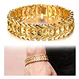 Suyi Men's 18K Gold Plated Link Bracelet Classic Carving Wrist Chain Link Bangle Width