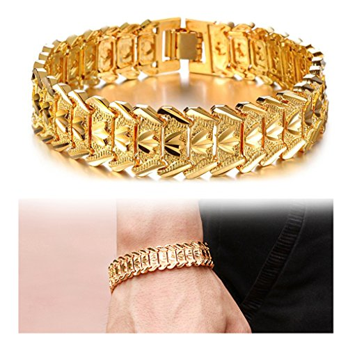 Suyi Mens 18K Gold Plated Link Bracelet Classic Carving Wrist Chain Link Bangle Width