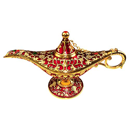 (SUNMALL Vintage Legend Aladdin Lamp Magic Genie Wishing Light,Collectable Rare Classic Arabian Costume Props Lamp Tabletop Decor Crafts for Home/Wedding Decoration&Gift for)