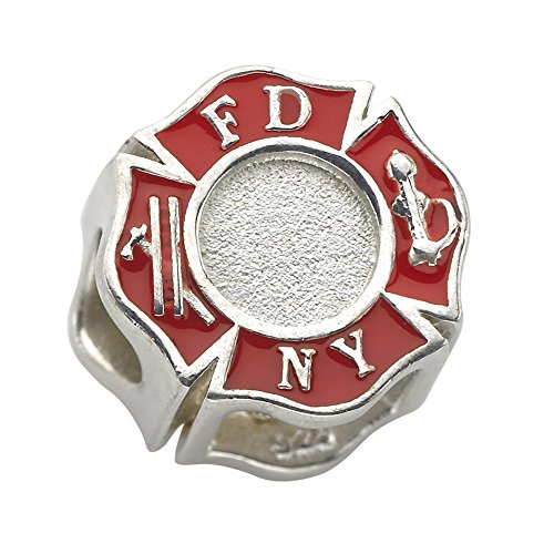 (New York City Fire Department (FDNY) Charm - Fits Pandora Bracelet - Sterling Silver)