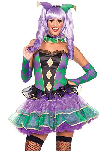 Leg Avenue Women's 5 Piece Mardi Gras Sweetie Costume, Multi, Medium/Large