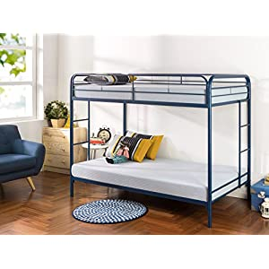 Zinus Easy Assembly Quick Lock Metal Bunk Bed Dual Ladders, Twin Over Twin, Blue 8