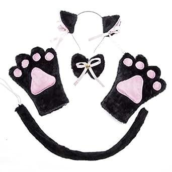 Costume Cat Cosplay Set - 4Pcs Kitten Tail Ears Collar Paws Gloves Lolita Gothic Set (Black)