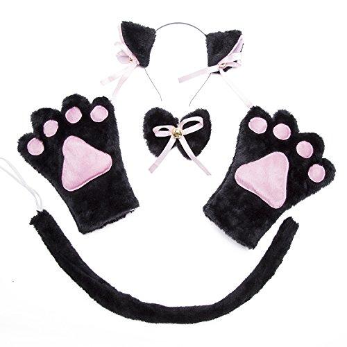 Costume Cat Cosplay Set - 4Pcs Kitten Tail Ears Collar Paws Gloves Lolita Gothic Set (Black) (Cat Cosplay Set)