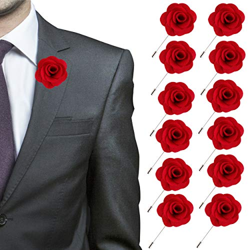 (JLIKA Lapel Flower Pin Rose for Wedding Boutonniere Stick - Set of 12 PINS (Red))