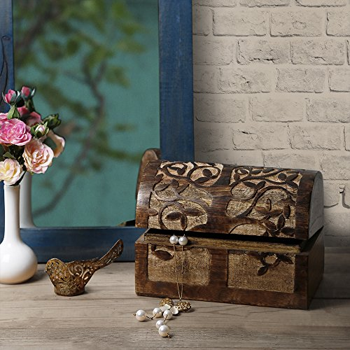 Large Wooden Tree of Life Chest Box Decorative Jewelry Trinket Holder Keepsake Storage Box Organizer Multi-Utility 9 x 6 inches