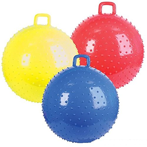 Kidsco 1 Bouncy Knobby Ball with Handles 36 inches - for Kids Teens and Adults - Assorted Colors, Colors May Vary, Sold Deflated