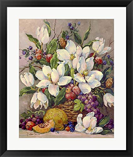 Fruit and Magnolias by Barbara Mock Framed Art Print Wall Picture, Black Frame, 24 x 29 inches