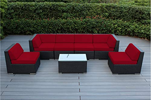 Ohana 7-Piece Outdoor Patio Furniture Sectional Conversation Set, Black Wicker with Red Cushions - No Assembly with Free Patio Cover (Sam Patio Furniture Club)