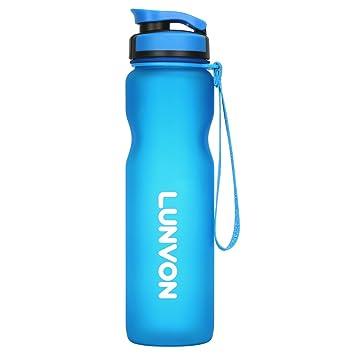 Lunvon 1L / 35 oz Mejor Deportes Botella de Agua, A prueba de Fugas -