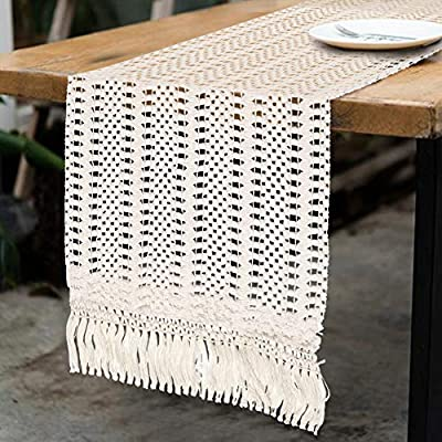 OurWarm Natural Macrame Table Runner Cotton Crochet Lace Boho Wedding Table Runner with Tassels for Bohemian Rustic Wedding Bridal Shower Home Dining Table Decor, 12 x 108 Inch - ◆LONG SIZE - Our Moroccan Table Runner measures 12in x 108in (including the fringe). Included 1 Boho Macrame Table Runner, ideal for bohemian wedding table decorations for the reception ◆PREMIUM QUALITY - The Crochet Lace Table Runner is made of 100% natural cotton in a natural off white color, moderate thickness, soft skin-friendly, eco-friendly, durable and reusable ◆UNIQUE DESIGN - Delicate beige weaved hollow striped cotton fabric with tassel, giving a minimalist feel and creating a relaxed feel in the room, to give your table a new look - table-runners, kitchen-dining-room-table-linens, kitchen-dining-room - 51t2jm5ICmL. SS400  -