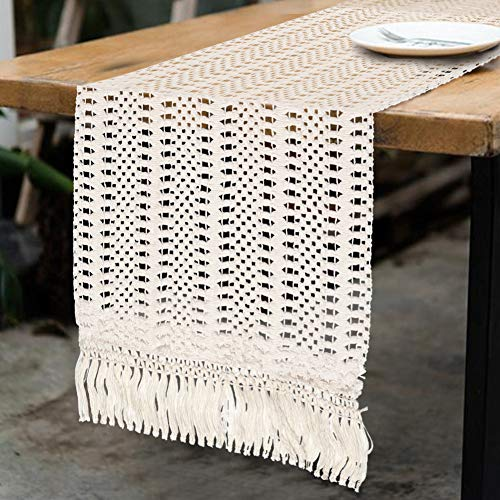OurWarm Natural Macrame Table Runner Cotton Crochet Lace Boho Wedding Table Runner with Tassels for Bohemian Rustic Wedding Bridal Shower Home Dining Table Decor, 12 x 108 Inch (Runner Tabel)