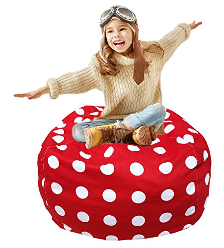 Extra Large Storage Bean Bag | Stuffed Toy Storage | Bean Bag Chair | Stuffed Storage Bag | Plush Toy Organizer | Perfect Storage Solutions | Creative Solution for Kids Red and White Polka Dot 38""