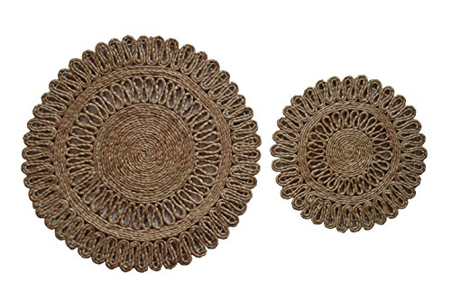 Toockies Hand Made Organic Jute Trivets/Hot Pads in Unique Sun Pattern- Set of 2 (SC 10006)