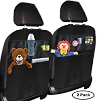 Kick Mats Car Back Seat Organizer: Larger Protection Storage-5 Compartments Eco Friendly Materials - Great Travel Accessory for Kids