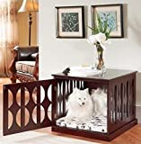 Hot Sale! Wooden Dog Kennel Crate End Table Side Furniture Puppy Pad Cage Pet Bed Mahogany