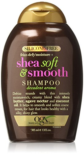 OGX Silicone-Free Frizz-Defy Moisture + Shea Soft and Smooth Shampoo, One Bottle (13 oz), Sulfate Free Surfactants Shampoo, Helps Defrizz, Smooth and Soften, For Most Hair Types (Sulfate Shampoo Free Shea Butter)
