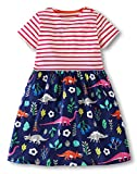 Jobakids Girls Dresses Short Sleeve Summer Cotton Striped Cute Print Pattern Casual Dress for Toddler(4T/4-5YRS,Pink Dinosaur)