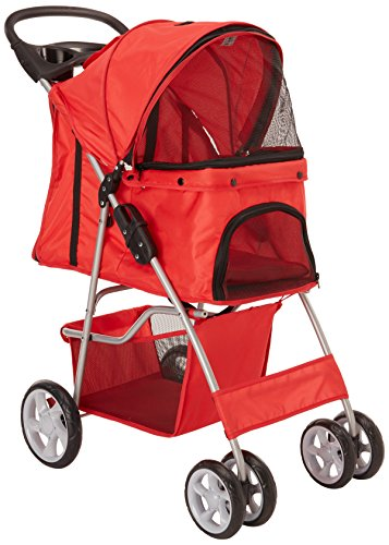 OxGord City Walk N Stride 4 Wheeler Pet Stroller for Dogs and Cats - Scarlet Red