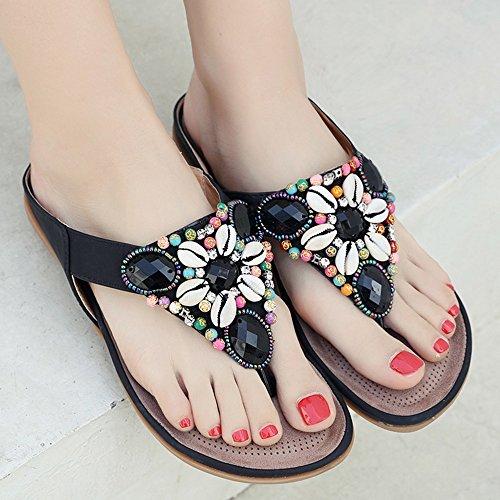 Verano Zapatillas Negro Zapatos EU36 Mujer Colores Plano Color CN35 UK3 5 Antideslizante Rhinestone Material Rojo Tamaño de Feifei PU de Playa 4 Opcionales xtzwqzBU