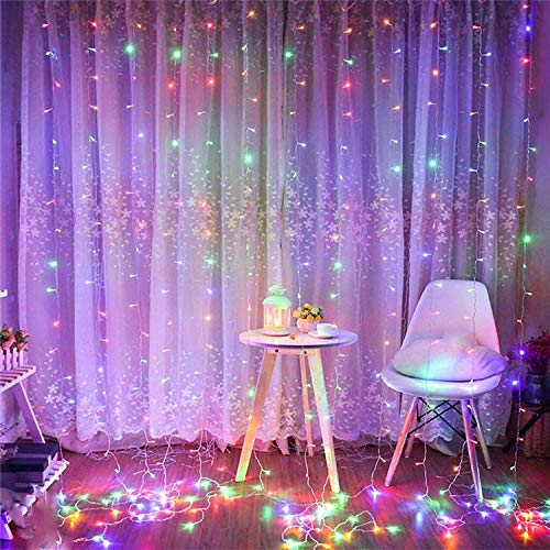 304 LED Window Curtain String Light, 9.8ft x 9.8ft, 8 Modes Setting Wedding Christmas Girls Bedroom Outdoor Indoor Wall Decoration Party Home Garden (Colorful)