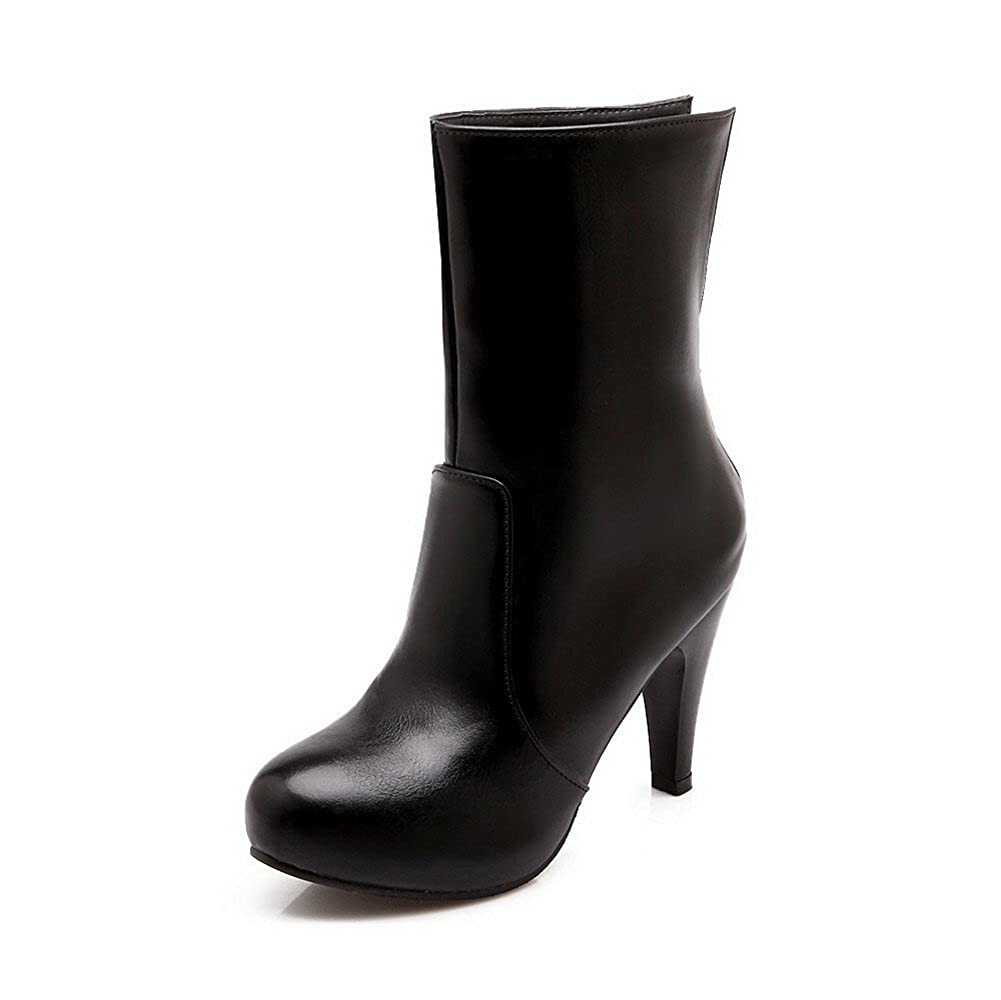 VogueZone009 Womens High-Heels Solid Round Closed Toe Frosted Zipper Boots