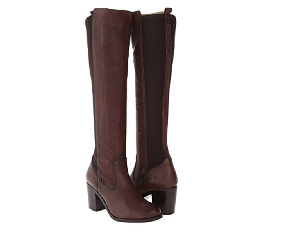 FRYE Women's Janis Gore Tall Riding Boot, Dark Brown, 8 M US