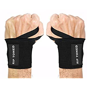 "Wrist Wraps by Rip Toned - 18"" Professional Grade With Thumb Loops - Wrist Support Braces for Men & Women - Weight Lifting, Crossfit, Powerlifting, Strength Training - Bonus Ebook (Black)"