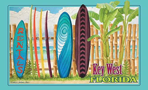 "Northwest Art Mall ED-5745 SRN Key West Florida Surfboard Rental Print by Artist Evelyn Jenkins Drew, 11"" x 17"""