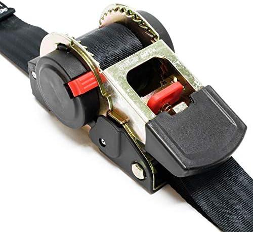 Set 4x Automatik Zurrgurt 320 daN Zuglast 3,5m x 25mm PES Spanngurt mit S-Haken selbstaufrollend