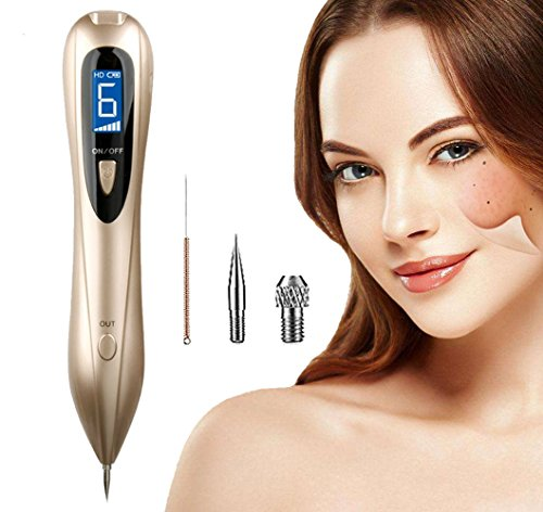 Mole Removal Pen Portable USB Charging Freckles Dark Spot Nevus Tattoo Dot Mole Remover Beauty Skin Machine with LCD Display Perfect for Removing Skin Tag (Golden)