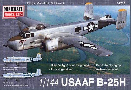 B25 Mitchell Bomber - Minicraft B-25H USAAF Model Kit (1/144 Scale)