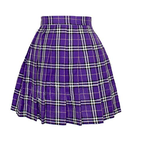 Women`s Pleated Mini Skirt Plaid Short Sexy A line Skirts Costumes (4XL, Purple Mixed White)