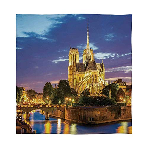 (TecBillion Warm Flannel Blanket,Paris Decor,for Folding Bed Crib, Stroller, Travel, Couch and Bed,Size Throw/Twin/Queen/King,Notre Dame Cathedral at Dusk in Paris)