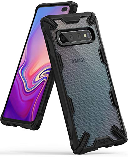 Ringke Fusion X Design DDP Compatible with Galaxy S10 Plus Case Semi-Opaque PC Back with TPU Bumper Stylish Protection Cover for Galaxy S10 Plus (2019) - Carbonfiber Black