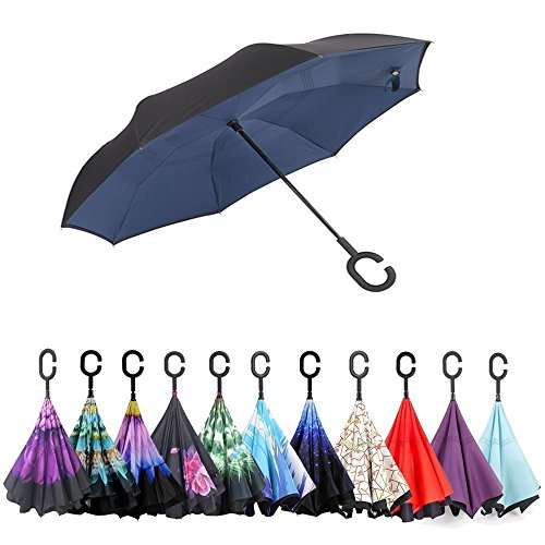 Automatic Open Reverse/Inverted Umbrella (Black/Navy Blue) - 2