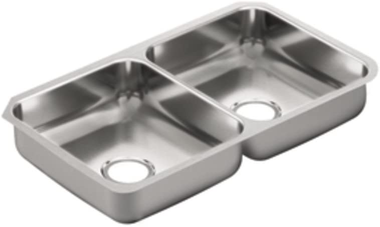 Moen G20214 2000 Series 20 Gauge Double Bowl Undermount Sink, Stainless Steel