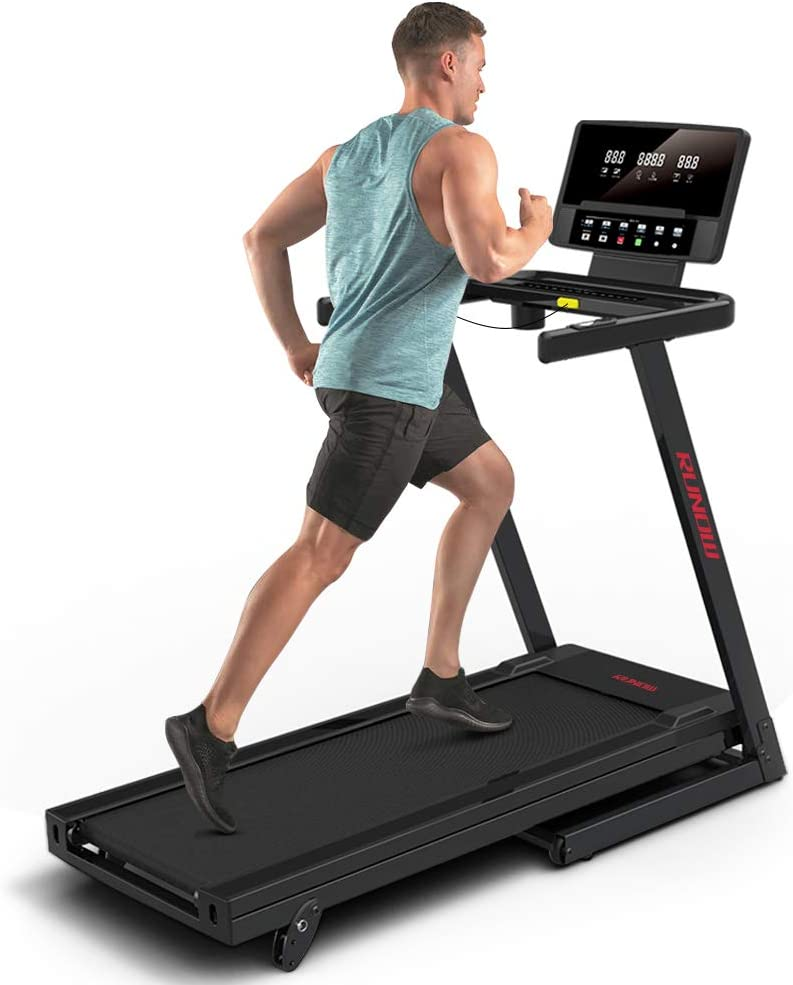 RUNOW 3305EB/6631CA Folding Treadmill for Home with Manual/Auto Incline, Bluetooth Speaker, Large LCD Display Console, Electric Running and Walking Machine, Fitness Treadmill