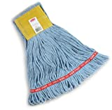 Rubbermaid Commercial  Web Foot Wet Mop, Small, 5-Inch Yellow Headband, Blue (FGA15106)