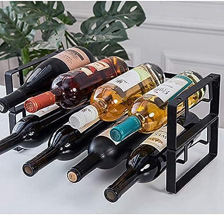 HCYSNG Práctico Estante para Botellas de Vino Vinoteca de pie Soporte para Botella de Vino de pie Independiente Soporte para Botellas de Vino de Metal (Color : Black)